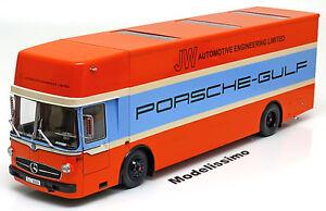1-18-Schuco-Mercedes-O317-Porsche-race-transporter-1968-Gulf-ltd-500