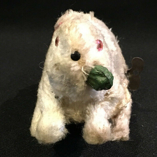 White Bunny Rabbit w Carred in Mouth Wind Up Toy Key Made Japan Occupied Easter