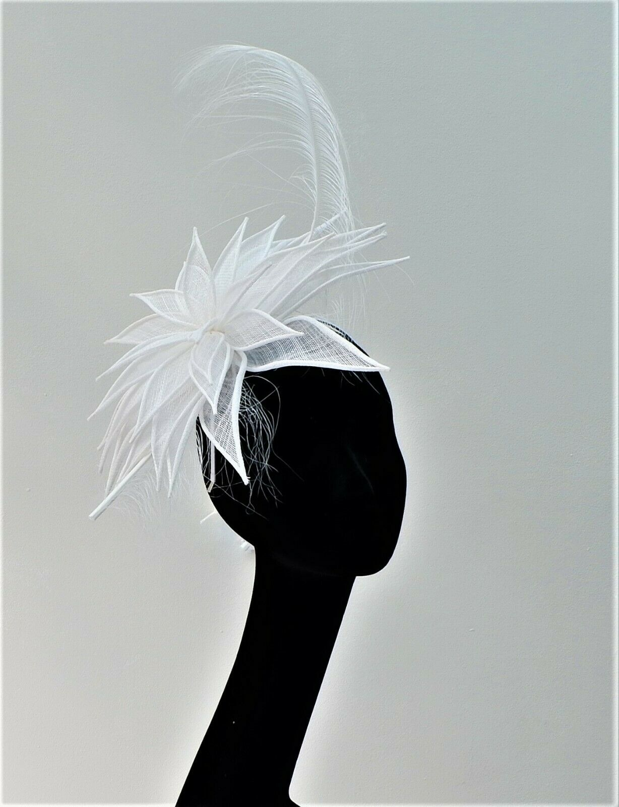Kate - Pure White Sinamay Petal & Feather Fascinator BY HATS2GO