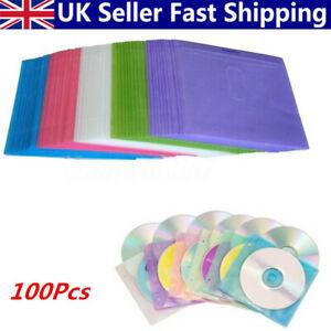 100Pcs-CD-DVD-Disc-Double-Side-Cover-Storage-Case-Plastic-Bag-Sleeve-UK