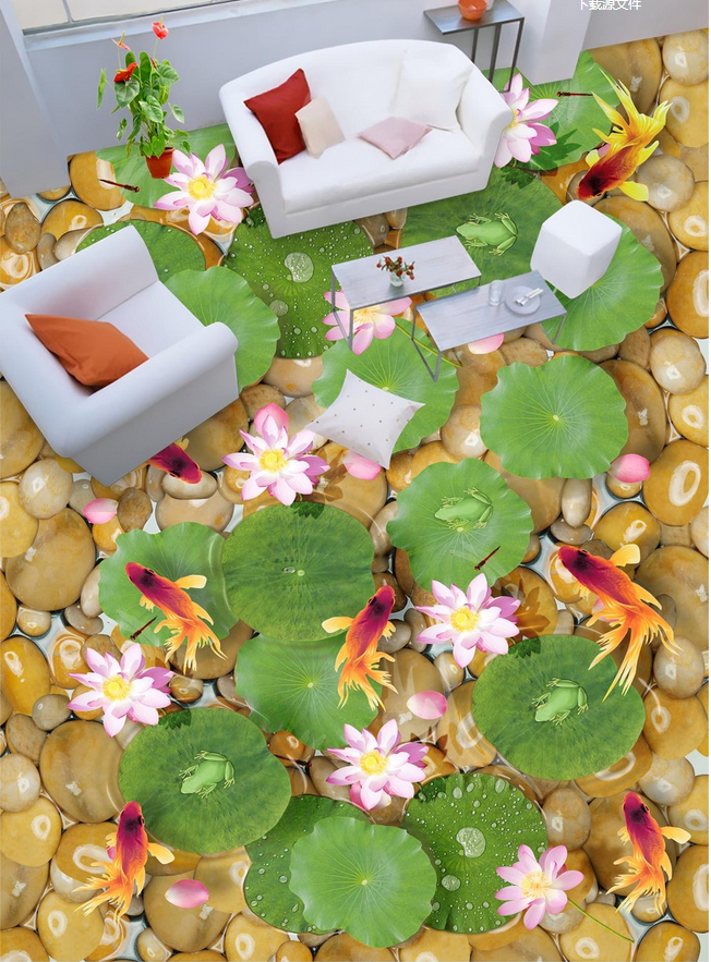 3D Lotusteich 436 Fototapeten Wandbild Fototapete Tapete Familie DE Lemon