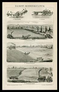 Original-Holzstich-Tafel-von-1882-Dampf-Bodenkultur-Balancierpflug-Grubber-u-a