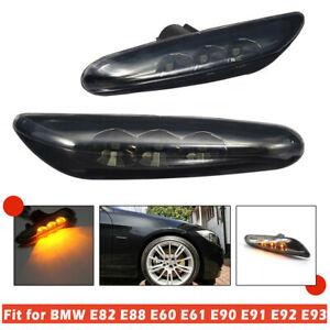 Side Marker Light Turn Signal Black LED For BMW E60 E61 E82 E88 E90 E91 E92 E93