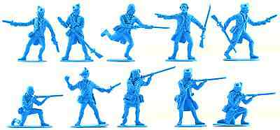 Accurate U.S Militia set #2-20 unpainted 54mm toy soldiers in butternut color