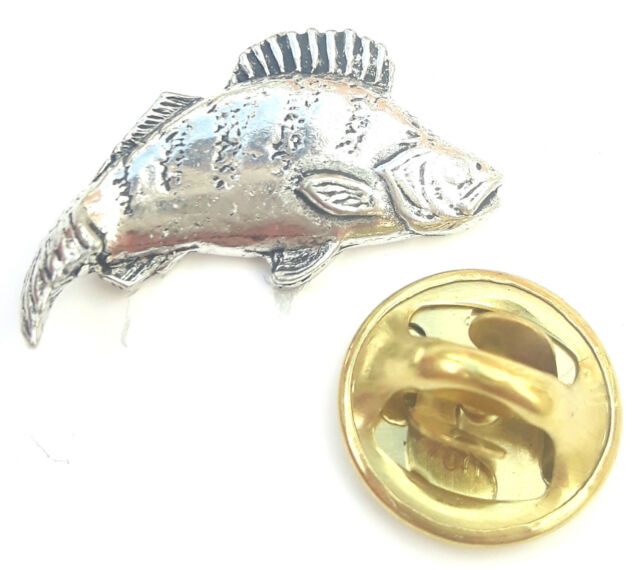 Perch Fish Handcrafted from English Pewter in the UK Lapel Pin Badge