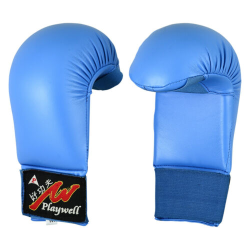 Playwell Karate Mitts Vinyl Blue Sparring Gloves Training Competition Protective