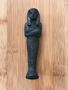 Vintage-Egyptian-1970-039-s-Sarcophagus-Black-Soapstone-Collectable-Figurine-24-99