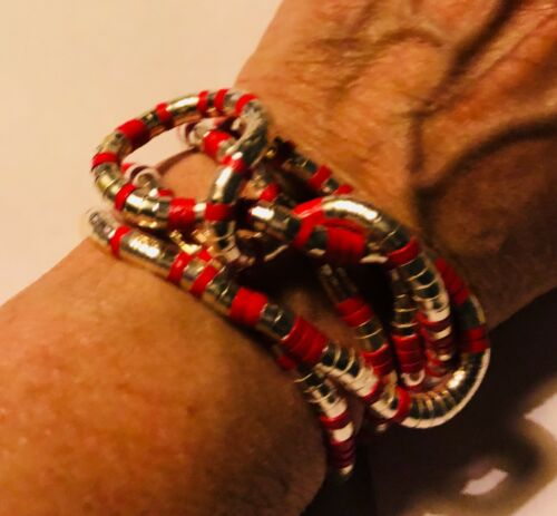 """Fabulous Articulated Bendable Silver//Blue or Pink Snake Bracelet//Necklace 35"""""""