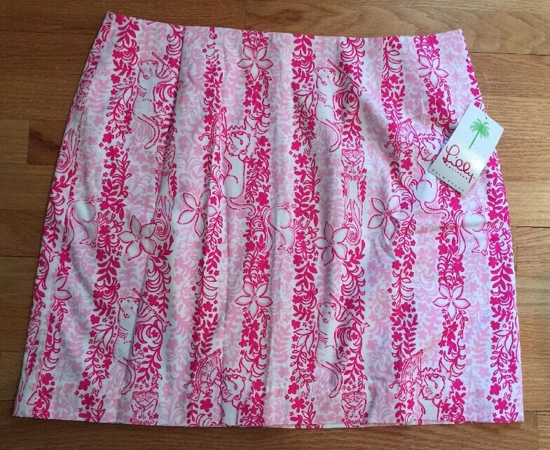 Nwt Lilly Pulitzer Womens Simple Skirt Boardwalk Cafe 16 Pink White