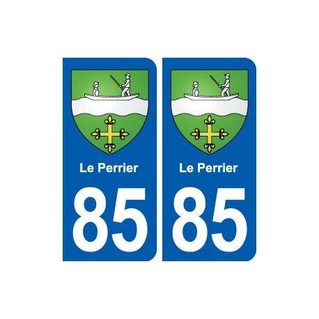 85 Le Perrier blason autocollant plaque stickers ville arrondis