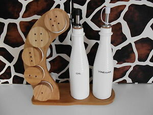 Bambus Menageset Porzellan Essig Öl Gewürzset Küchenhelfer Gewürzmenage Neu