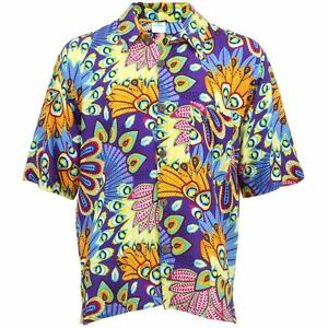 Men-039-s-Loud-Shirt-Retro-Psychedelic-Funky-Party-Hawaiian-Tropical-PURPLE