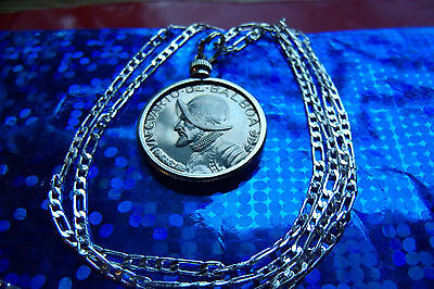 """RARE CONQUISTADOR PANAMA PROOF COIN PENDANT on a 30/"""" .925 STERLING SILVER CHAIN"""