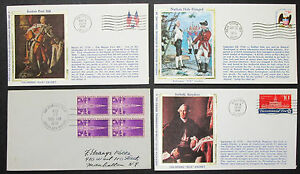US-Postage-Set-of-4-Covers-Patriotic-Colorano-Silk-Cachet-USA-Letters-H-8323