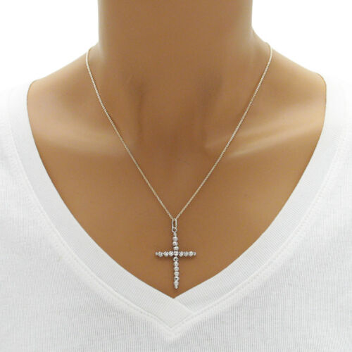 Argent Sterling 925 Dia Cut Multi-Perles Pendentif Croix Choisir Couleur