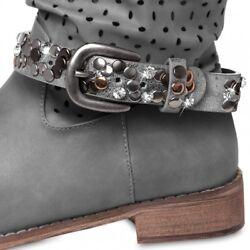 CASPAR STB013 Damen Vintage Stiefelband / Stiefelschmuck mit Strass und Nieten