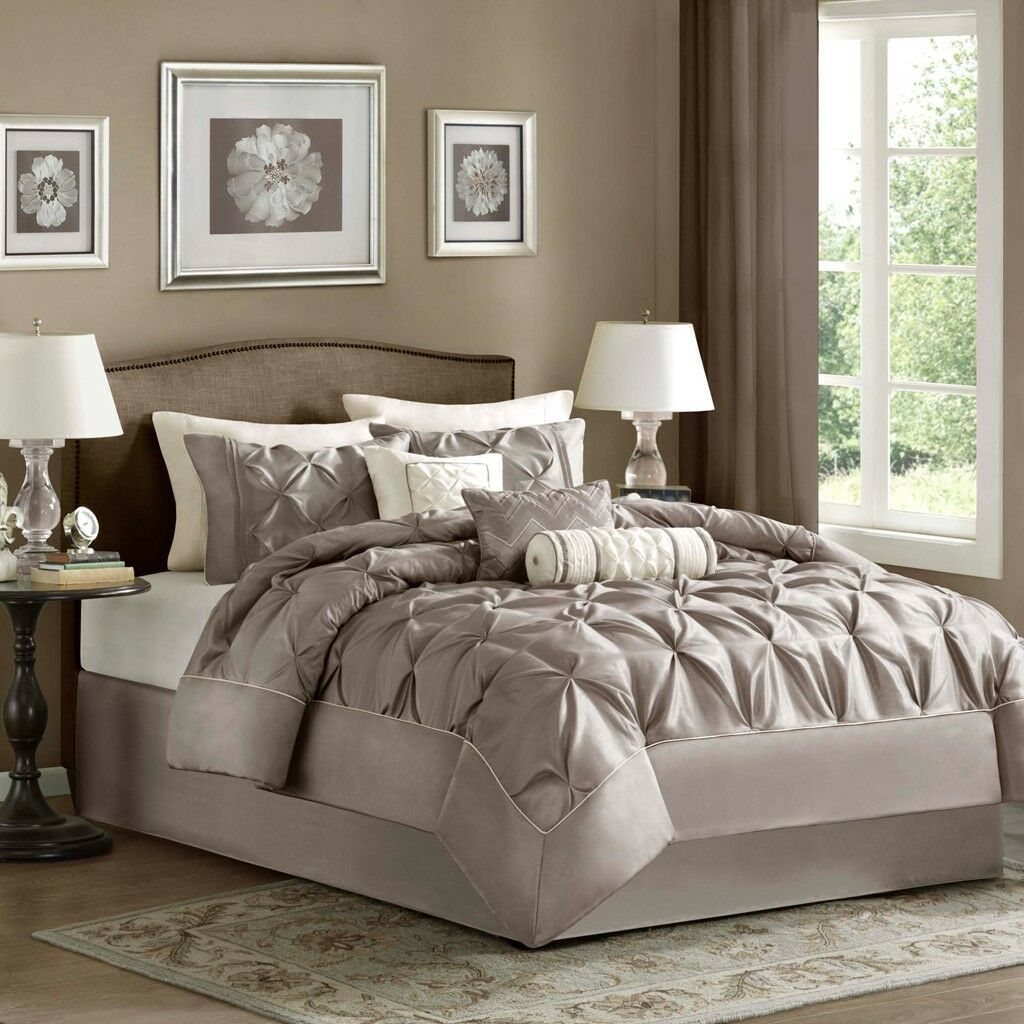 New King Size Laurel 7 Piece Tufted Comforter Set Neutral Brown Madison MP10-252