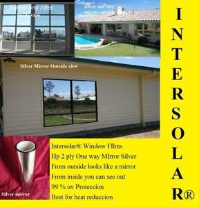 "WINDOW TINT SILVER CHROME 2 PLY 20/% 30/"" X 100 FT ONE-WAY MIRROR"
