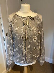 NWT-Senza-Tempo-Designer-Silver-Grey-Embroidered-Long-Sleeve-Tie-Blouse-Medium