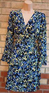 Marks-Spencer-Blumendruck-schwarz-blau-Wrap-Langarm-Skater-eingewickelt-Kleid-8-S
