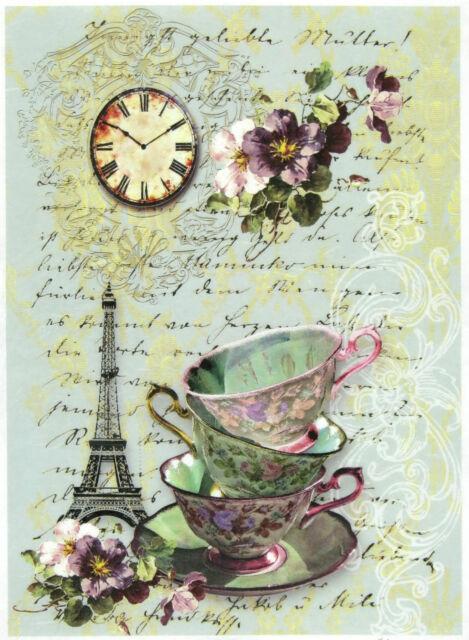 Rice Paper for Decoupage, Scrapbook Sheet, Craft Tea in Paris