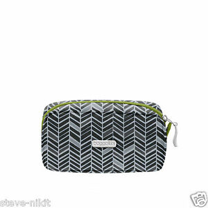 Details About Baggallini Square Cosmetic Case Toiletry Bag Black Grey Nwt 25