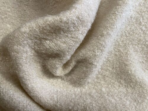 Cream Wool Blend Bouclé Fabric Per Metre