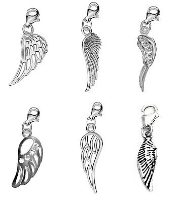 Genuine Silver 925 angel wing clip on charm for branded bracelet or anklet F57C