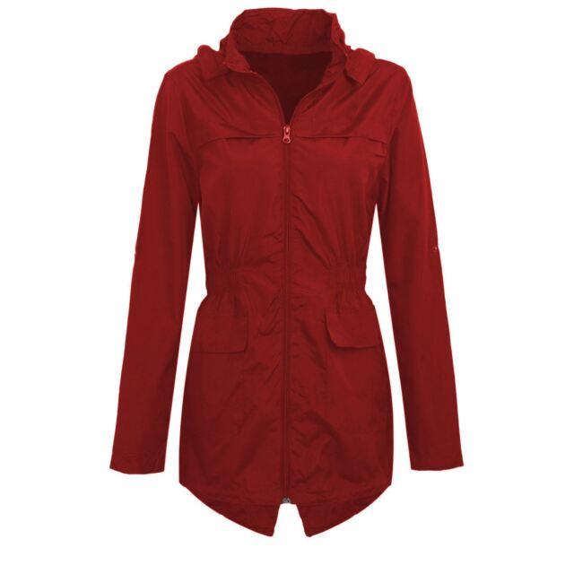 aabcc808d7 Womens Plus Size Lightweight Hooded Showerproof Rain Coat Jacket Mac ...
