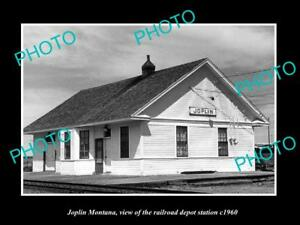 OLD-LARGE-HISTORIC-PHOTO-OF-JOPLIN-MONTANA-THE-RAILROAD-DEPOT-STATION-c1960