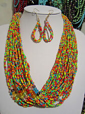 Multi Strand Multi Color Glass seed Bead Faceted Glass Bead Necklace earring set