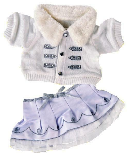 """CHRISTMAS WINTER WHITE SILVER OUTFIT FITS 15""""/40CM TEDDIES & BUILD YOUR OWN BEAR"""