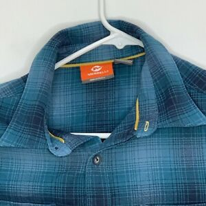 Merrell-Mens-Casual-Shirt-LS-Blue-Black-Plaid-Small