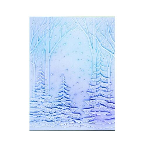 3D Snowy Forest Embossing Folder Christmas Winter Memory Box Craft Folders