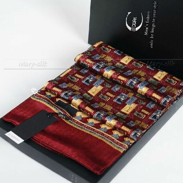 Gifts__Mens 100% Silk Long Scarf Double Layer Red Gray_For Spring Autumn Winter