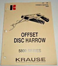 Krause 5800 Series Offset Disc Harrow Owners Operators Parts Manual Original