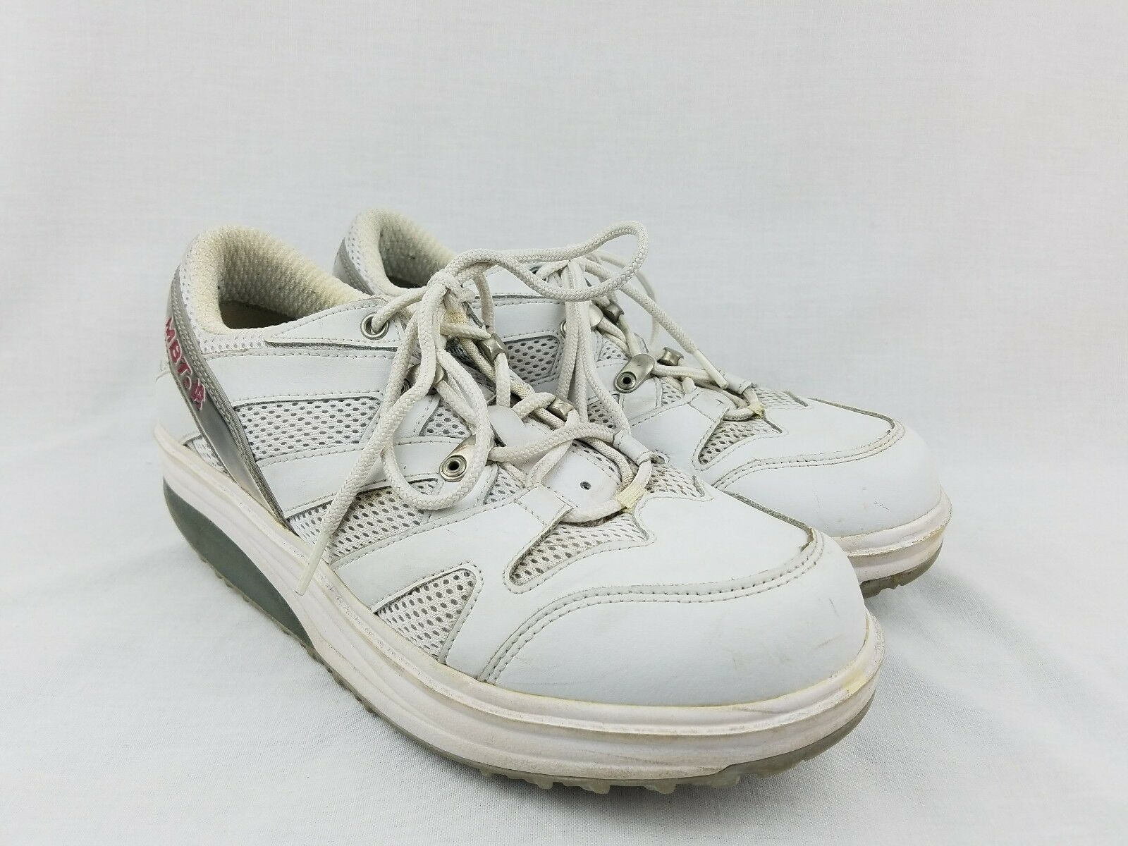 MBT Toning Walking Sport shoes Unisex SIZE WOMENS 9 MENS 7 Leather Mesh White