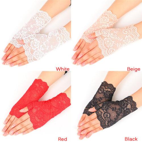 New Women Evening Bridal Wedding Party Dressy Lace Fingerless Gloves Mittens YE