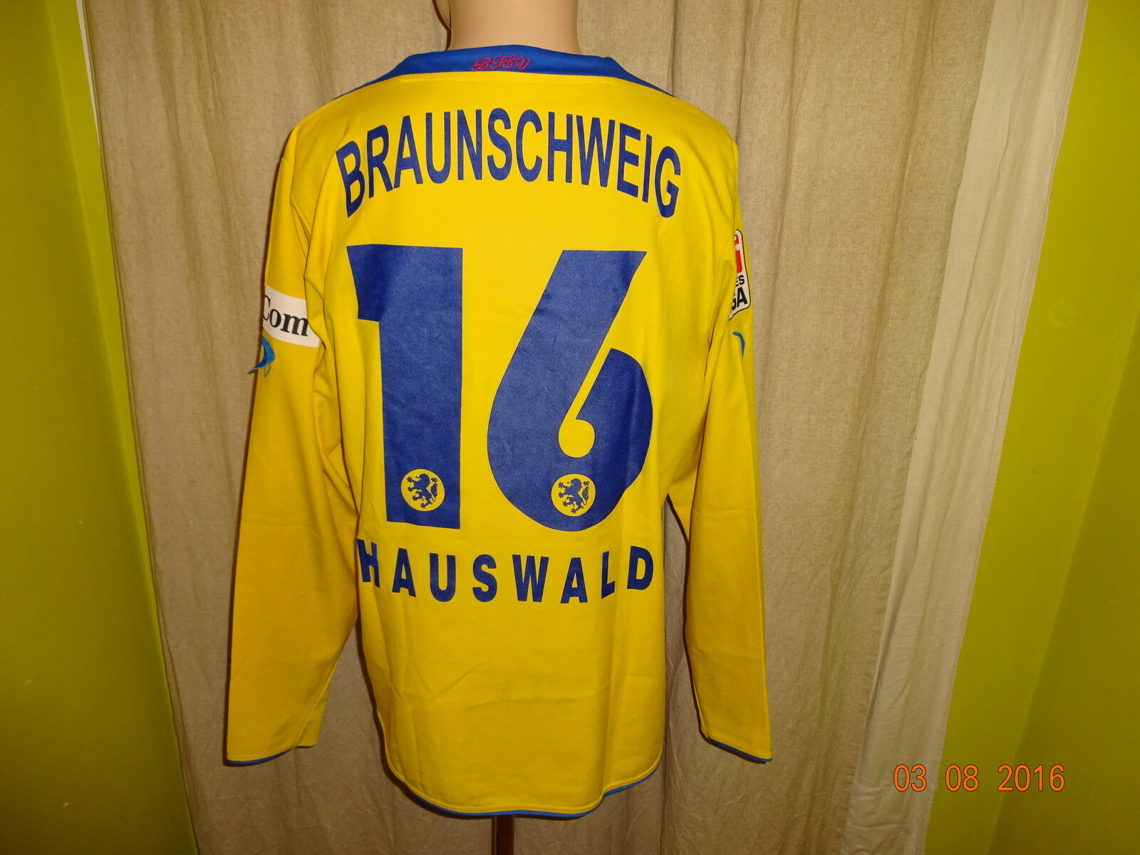 Eintracht Braunschweig Jako Langarm Matchworn Trikot + Nr.16 Hauswald Gr.M L