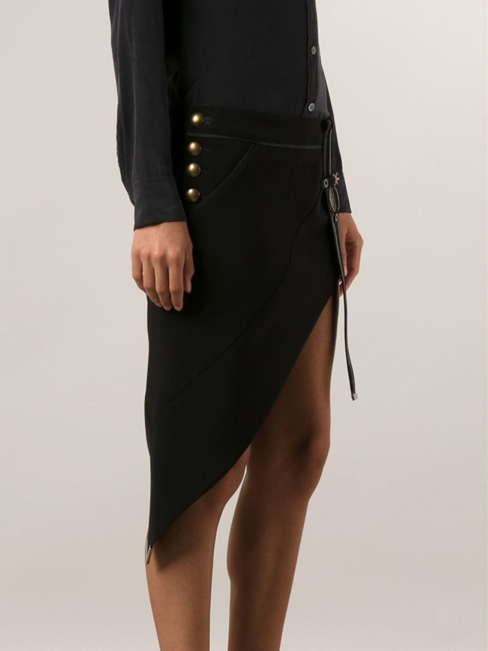 ANTHONY VACCARELLO Asymmetric Silk Blend Mini Skirt