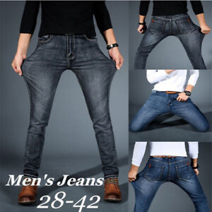 Para-Hombre-Regular-Slim-Fit-Stretch-Blue-Jeans-Comodos-Super-Flex-Denim-Pantalones-Pantalones