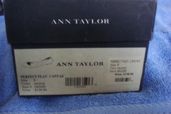 Ann Taylor NIB  138 perfect flats flats flats canvas natural US 8 12870e