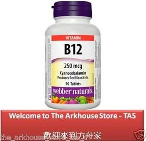 90-T-Vitamin-B12-Cyanocobalamin-250-produces-red-blood-cells-Webber-Naturals