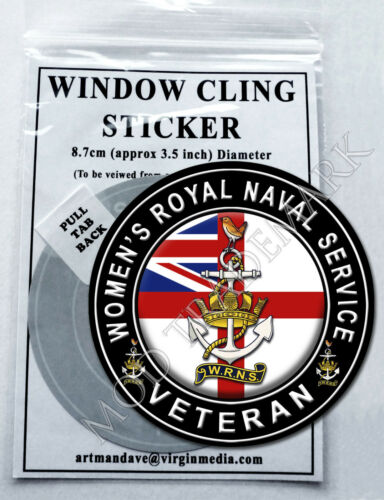 WOMEN/'S ROYAL NAVAL SERVICE WINDOW CLING STICKER  8.7cm Diameter VETERAN
