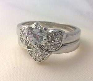 G-Filled-Ladies-18ct-white-gold-simulated-diamond-ring-wedding-set-engagement