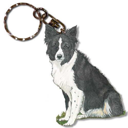 Border Collie Keychain Wooden