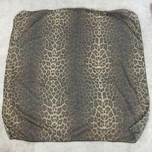 Leopard print scarf 44 x 44 inches square semi sheer polyester neck