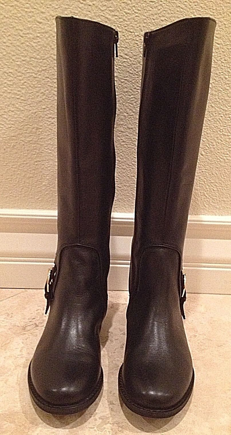 ME TOO Black Leather Equestrian English Riding Boots Buckle Zip Boots 5.5M NEW!!