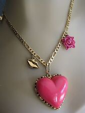 BETSEY JOHNSON PINK PUFFY HEART PENDANT LIP FLOWER CHARM NECKLACE~NWT~RARE
