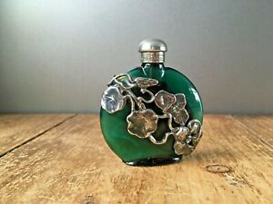 ART-NOUVEAU-STYLE-GREEN-GLASS-amp-SILVER-STYLISED-LEAF-FLORAL-SCENT-PERFUME-BOTTLE